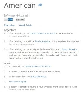 Dictionary definition of an American